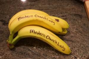 Bananas with Modern Church Lady on them