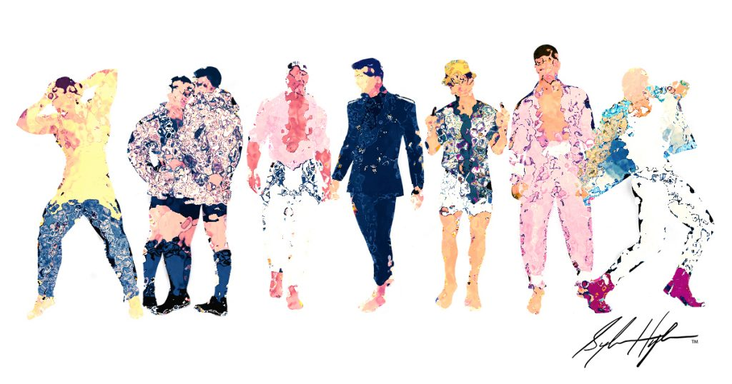 Sketch of 8 men in colorful designs by TJ Hyde