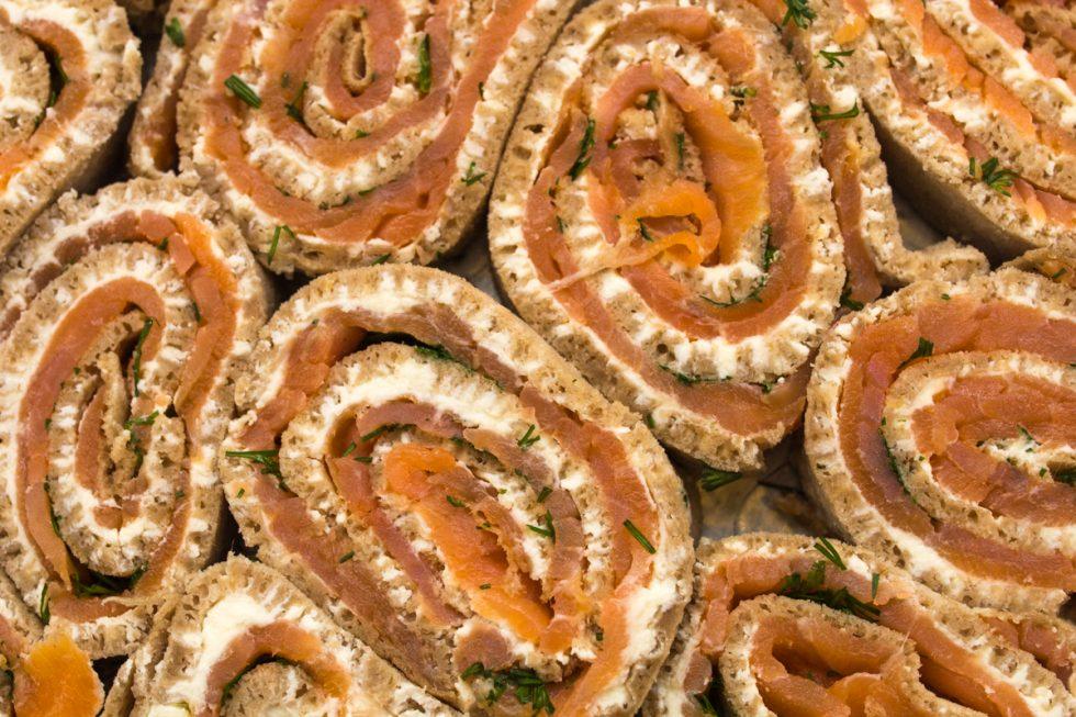 several Salmon injera Rollups